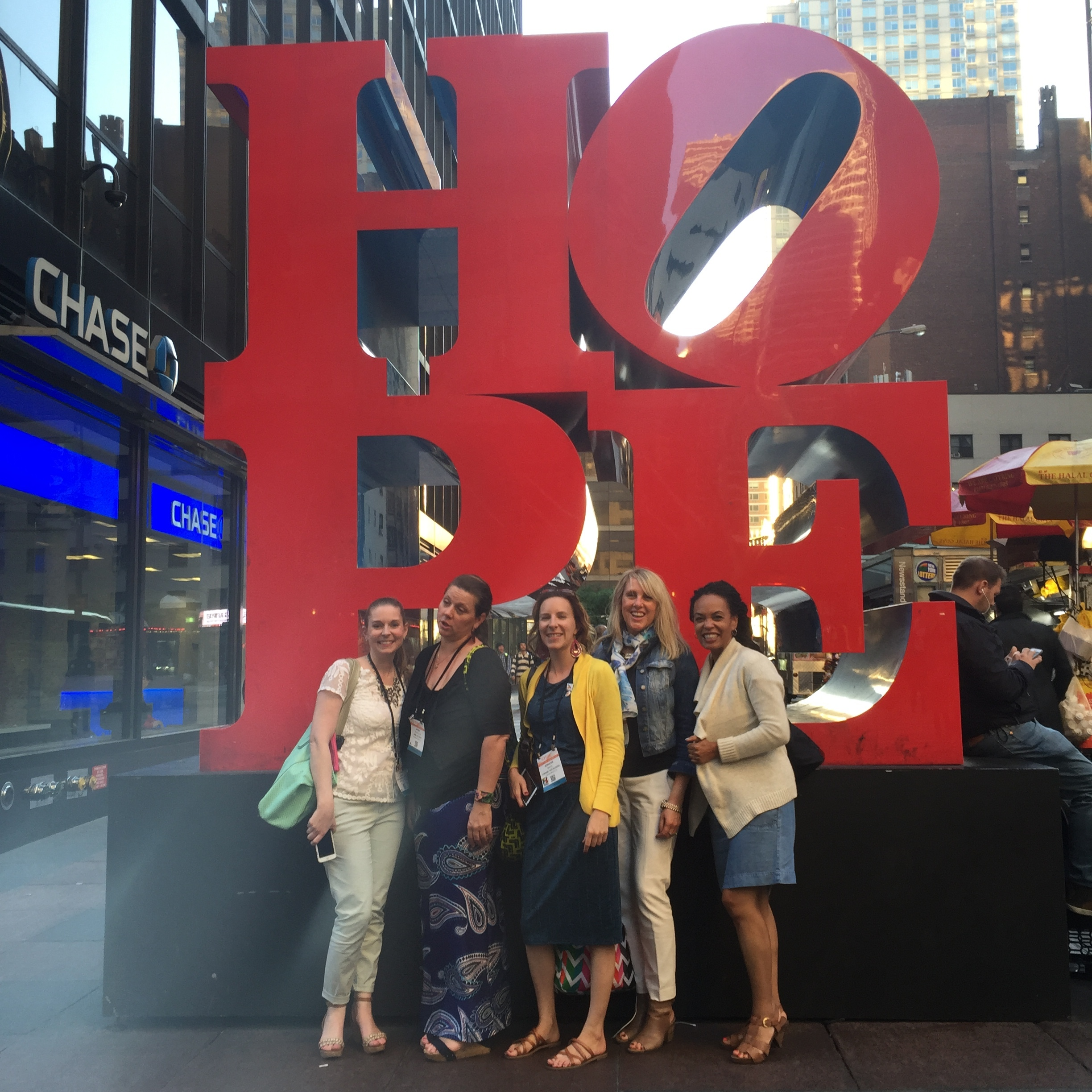 Seeing the sites in NYC. Pictured: Nicole Tamarin, Dawn Bouteilier, Jenifer Speer, Corinne Haig and Jeanetta Gonzales.