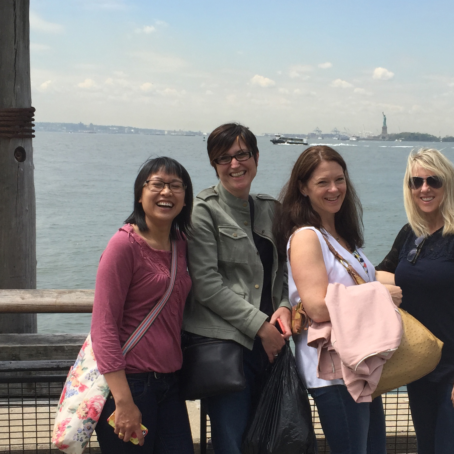 A visit to Lady Liberty. Pictured: Ohn Mar Win, Claire Picard, Harriet Mellor and Corinne Haig.