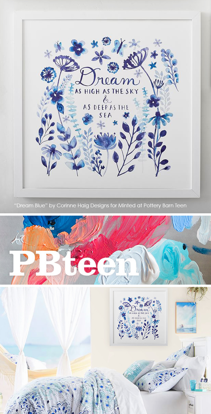 Dream Blue wall art by Corinne Haig (with Minted) available at Pottery Barn Teen. (Shown mocked up with Kelly Slater bedding).