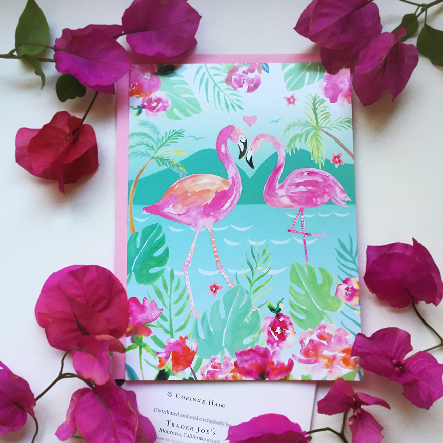 Flamingo Love greeting card for Trader Joe's designed by Corinne Haig