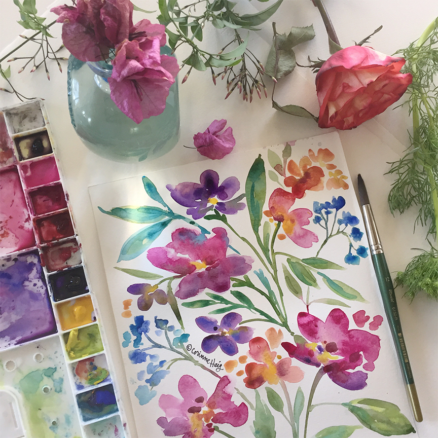 Spring Floral Watercolors by Corinne Haig