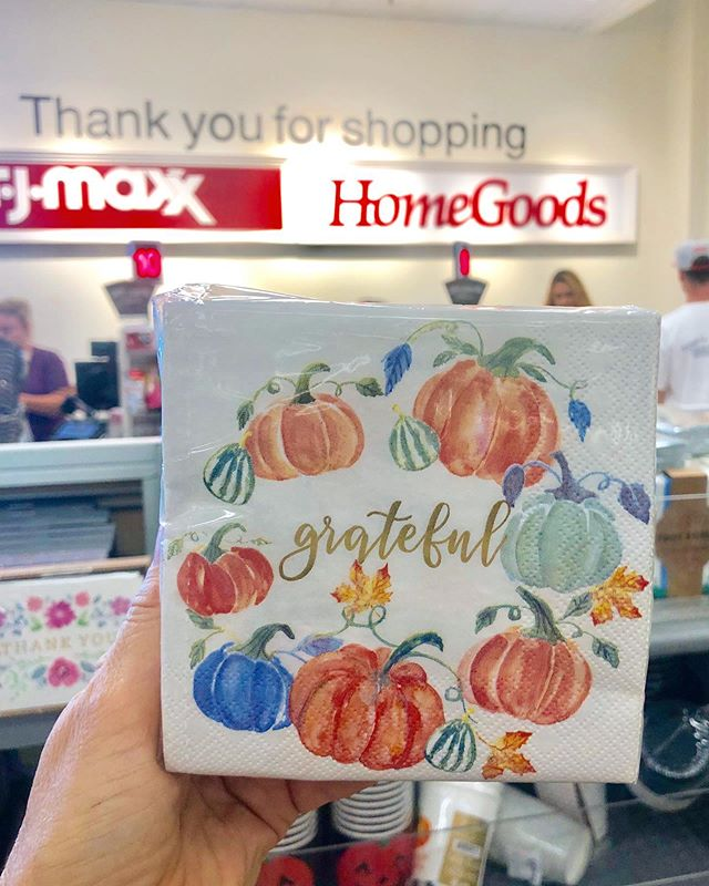 Thrilled to see my Grateful Pumpkin paper #napkins in #tjmaxx & #homegoods. Grab some if you're planning on doing some Fall/Autumn entertaining! #napkindesign #grateful🙌 #falldecor #autumndecor #fallentertaining #pumpkinart #pumpkin🎃 #pumpkindecor