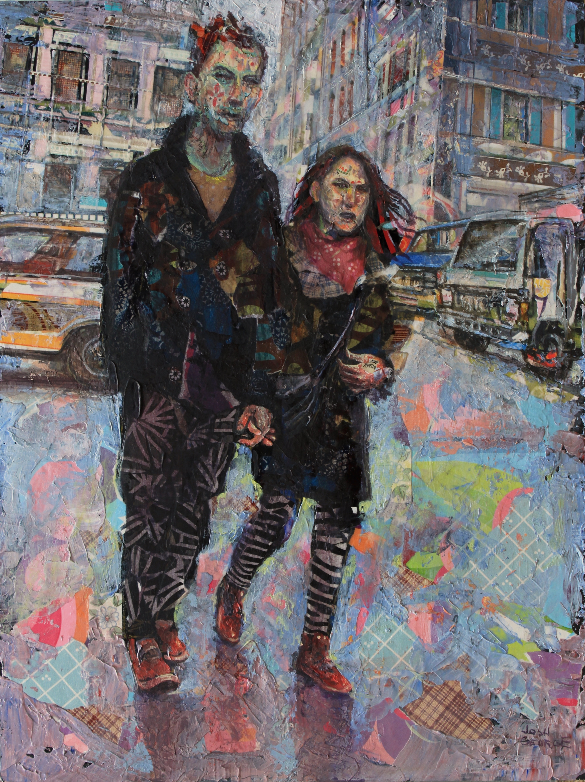 JOSH GEORGE %22Let's Take a Walk and Hold Hands%22 16%22 x 12%22 mixed media on wood panel $1300.JPG