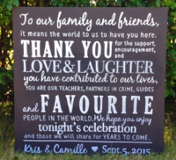 Calgary wedding chalkboard thank you to our family and friends done by chalkboards & company