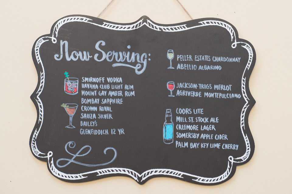 12. Drink menu or specialty cocktail