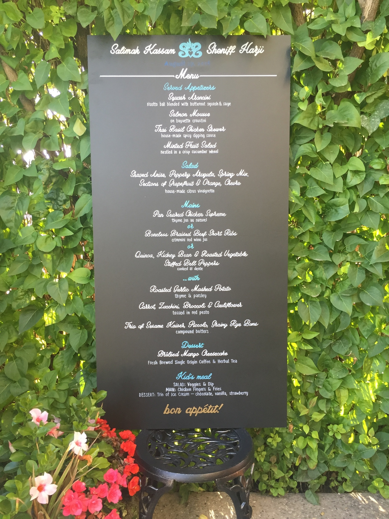 Get your guests going with a single menu when they walk in and save on the printing costs of having a menu for every guest! This menu is 2' wide by 4' wide and is only $165 including the chalkboard!