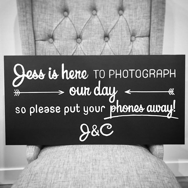 Feels good to be back at it after a long winter with a big move across the country. First one on the block is this cute little #unpluggedceremony #chalkboard for J&C. Don't you love how it's personalized with the photographers name? Ps it's a super small adorable wedding!! ❤️❤️❤️. . . . #torontoweddings #toronto #torontosmallbusiness #handdrawn #weddingtoronto #weddingdecor