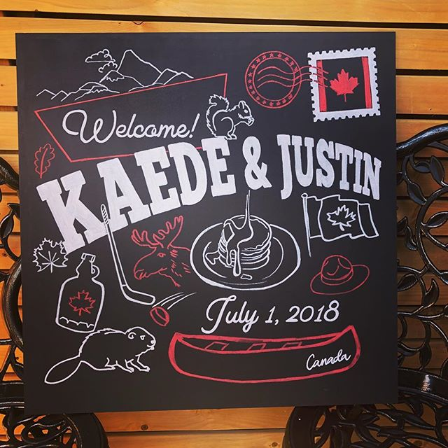 Happy Canada day and happy wedding to these cuties! Custom chalkboard welcome sign! #wedding #weddingdecor #torontoweddings #chalkboardart #yyzwedding #torontoweddings