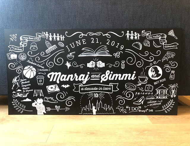 Whew! Most difficult board I've ever done but worth it!! 4 hours to design, 7 to draw it on. But congrats to this happy couple in New Jersey who will receive it soon!! 😘😘 #chalkboardart #wedding #weddingsigns #weddingdecor