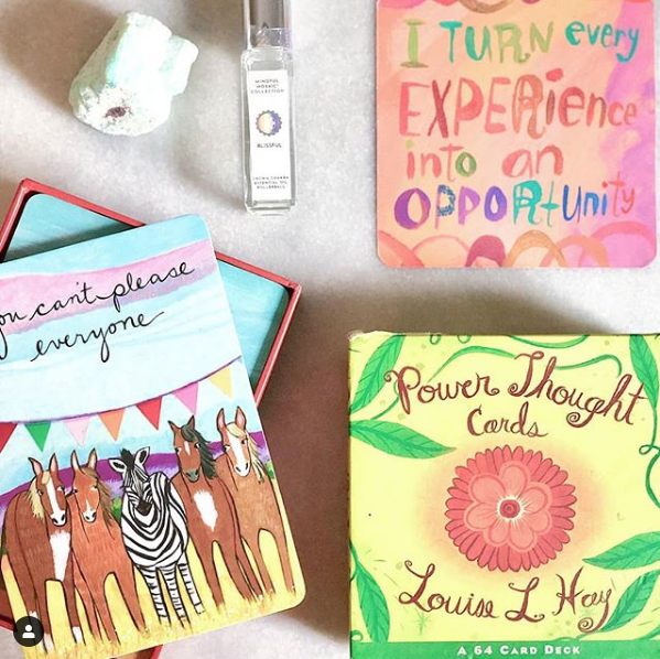 Louise Hay Power Thought Cards:  A Deck of 64 Affirmation Cards to Help You Find Your Inner Strength. Each vibrant card contains a powerful affirmation on one side and a visualization on the other to enlighten, inspire, and bring joy to your life.