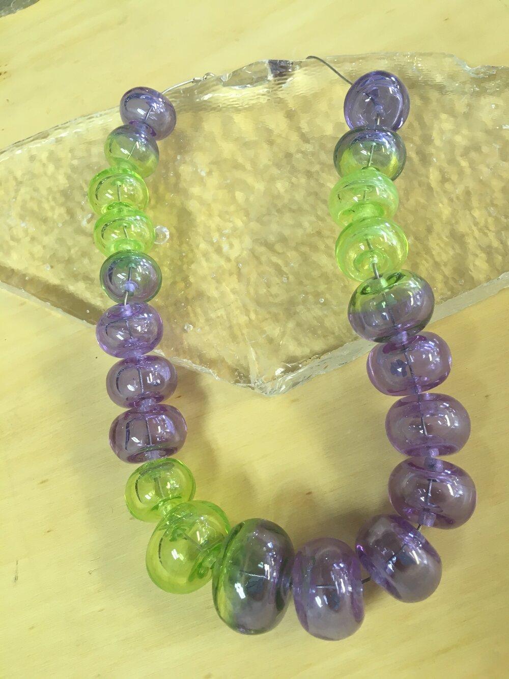 Handmade Glass Lampwork Hollow Beads Necklace