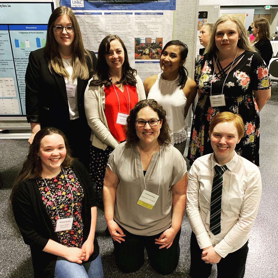 Erica (center) with 6 of her ENGL 430WI students who presented at the Undergraduate Research Symposium at UMKC in April 2019.
