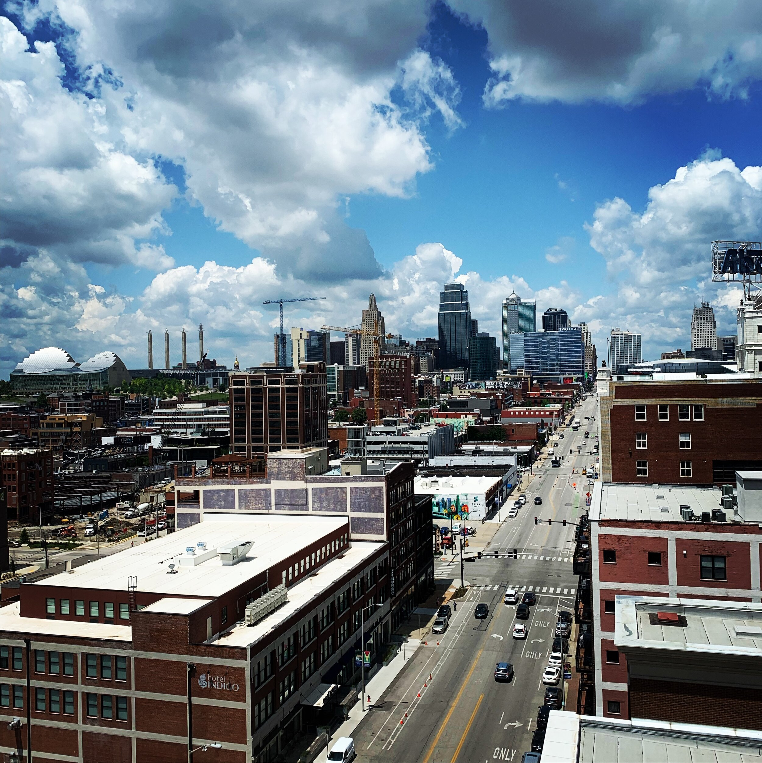 A partly cloudy day in downtown Kansas City, MO, the city where nearly all of the civic engagement for DISC 300 took place.