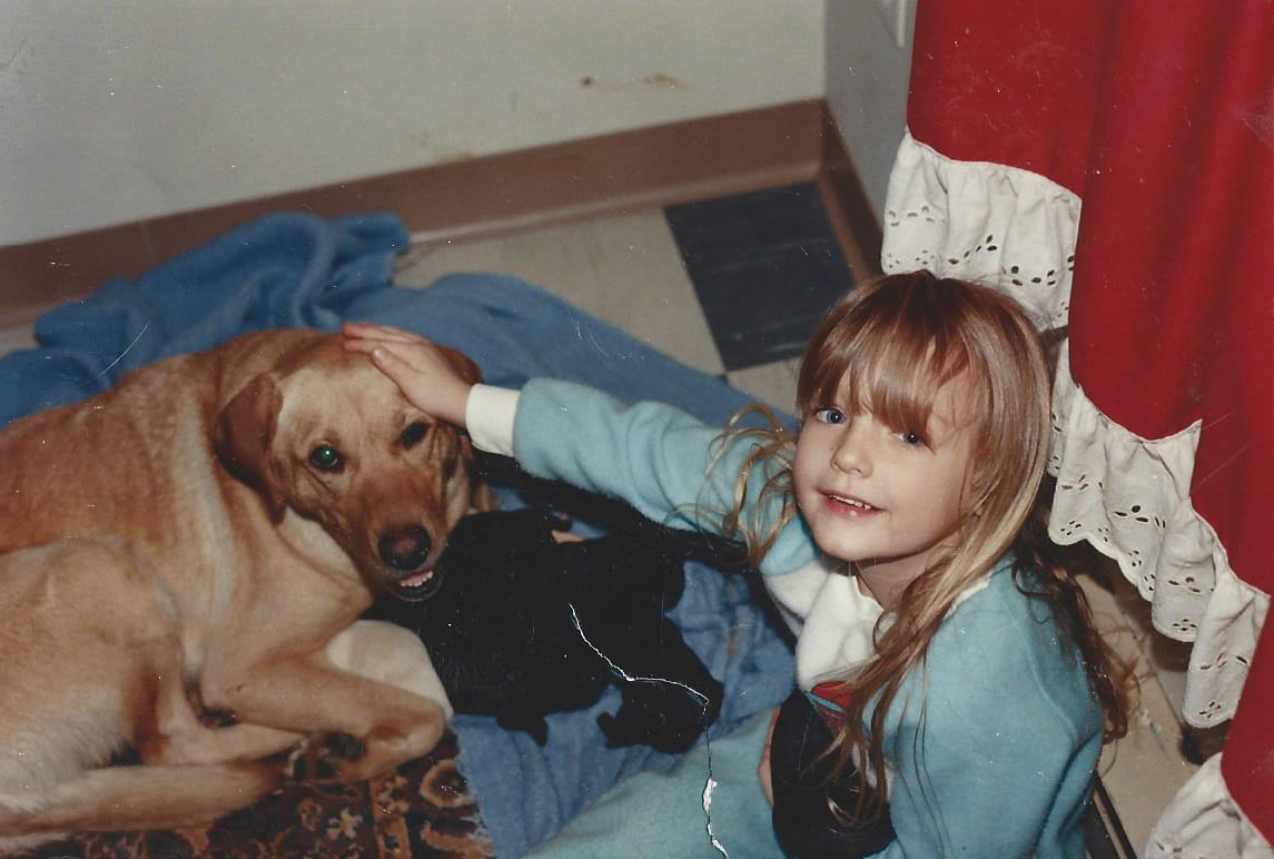 I grew up with this gorgeous golden lab Smiley. She was rescued by my dad when I was little. She was protective and energetic and lived up to her name until the day she passed.