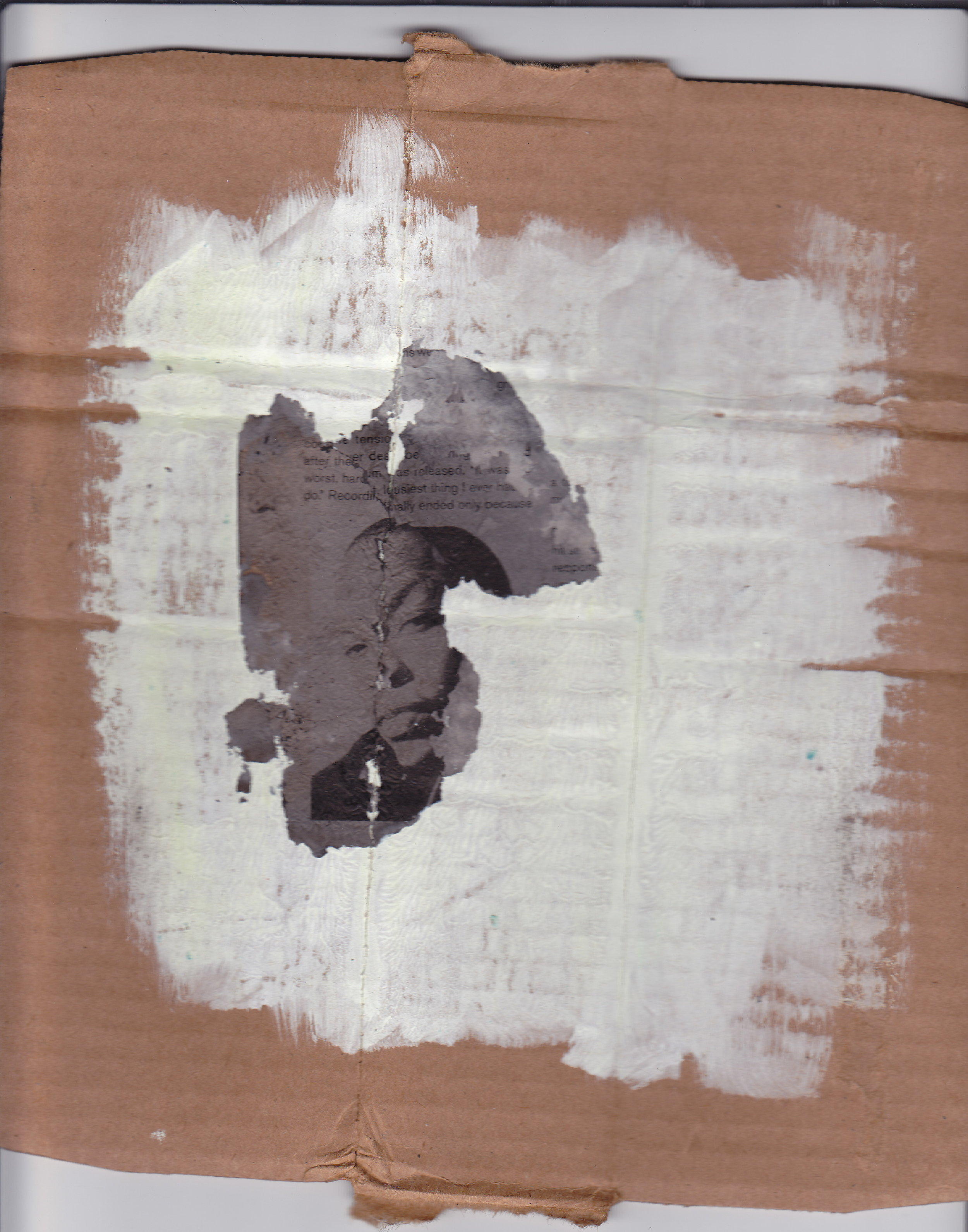 Dre, 2012 gesso and ash on cardboard
