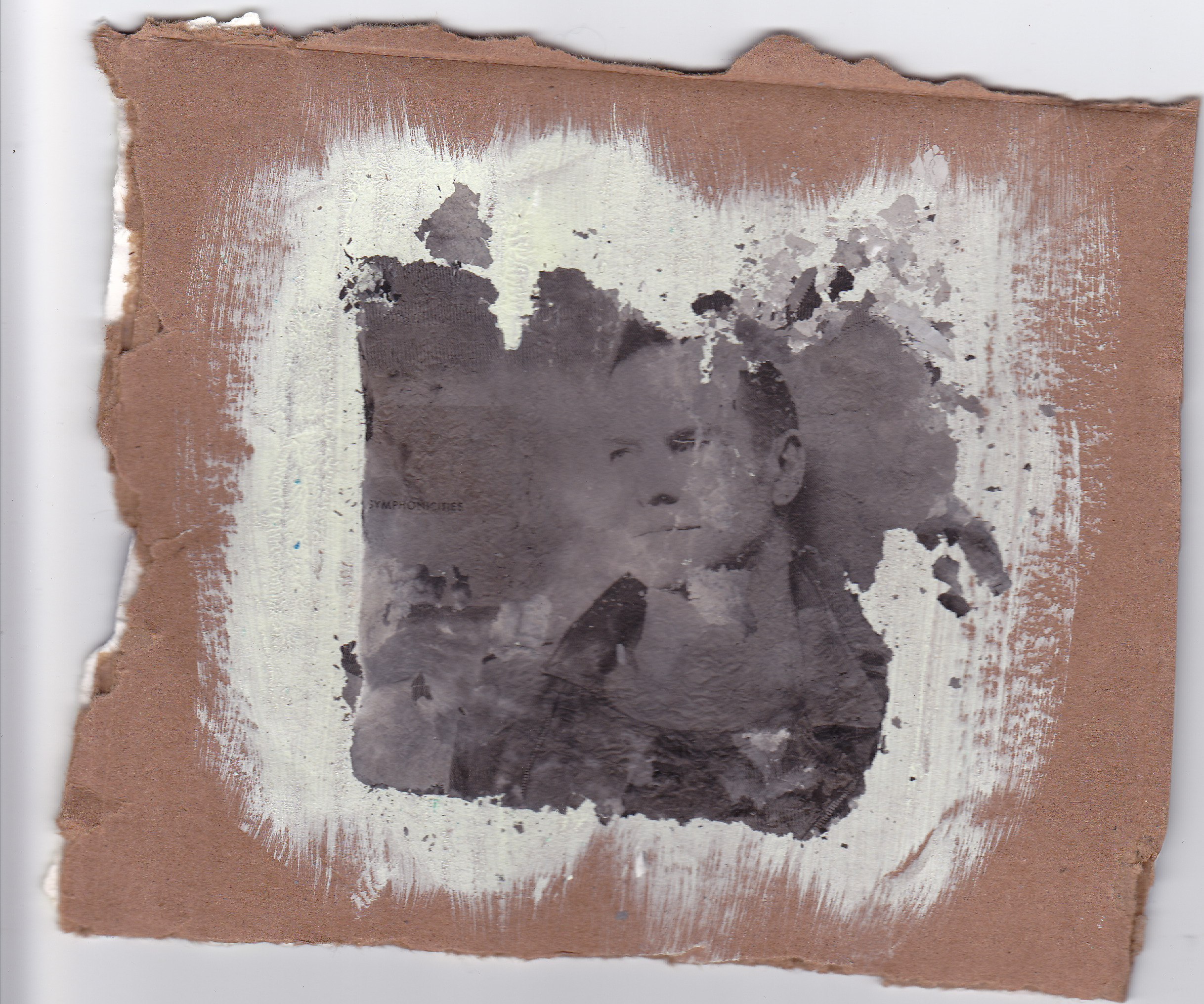 Sting, 2013 ash and gesso on cardboard