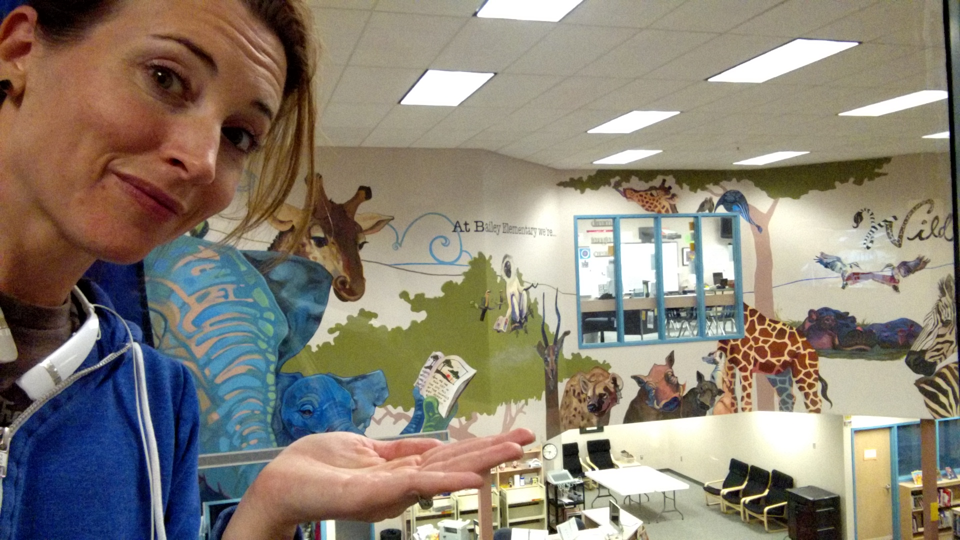 "The ""Wild About Reading"" mural in Bailey's library."