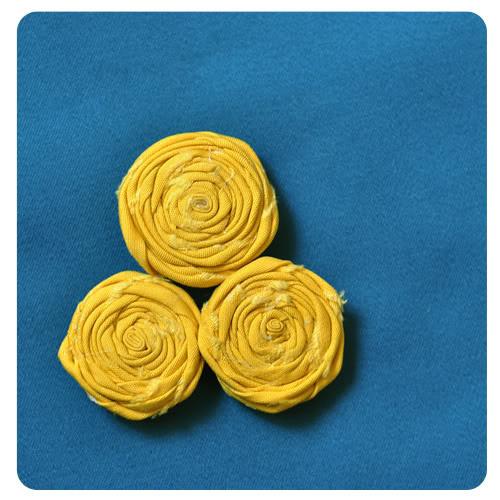 rolled felt flowers