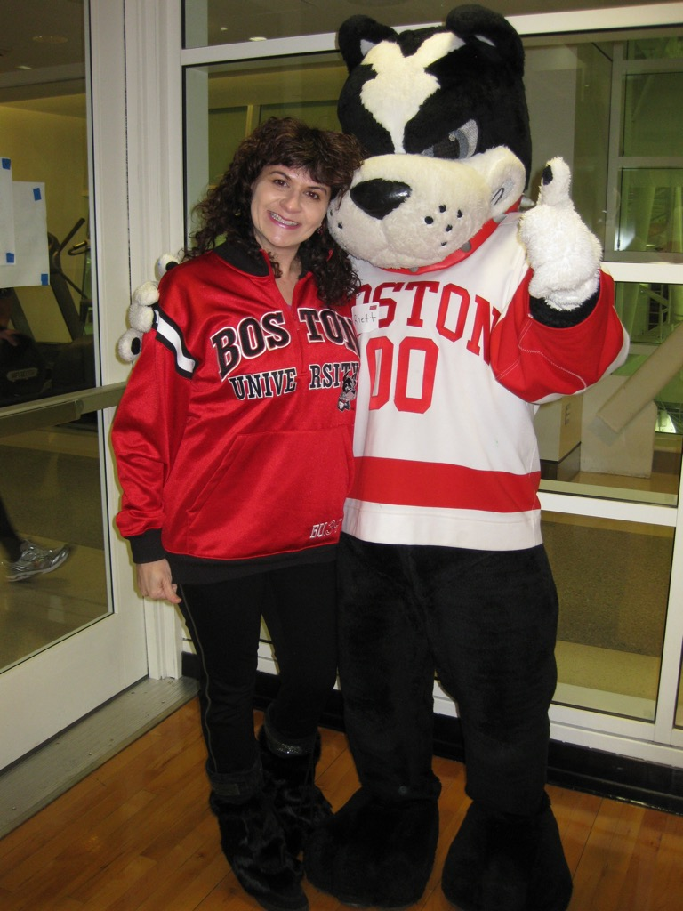 Karen with Rhett, the Boston University mascot