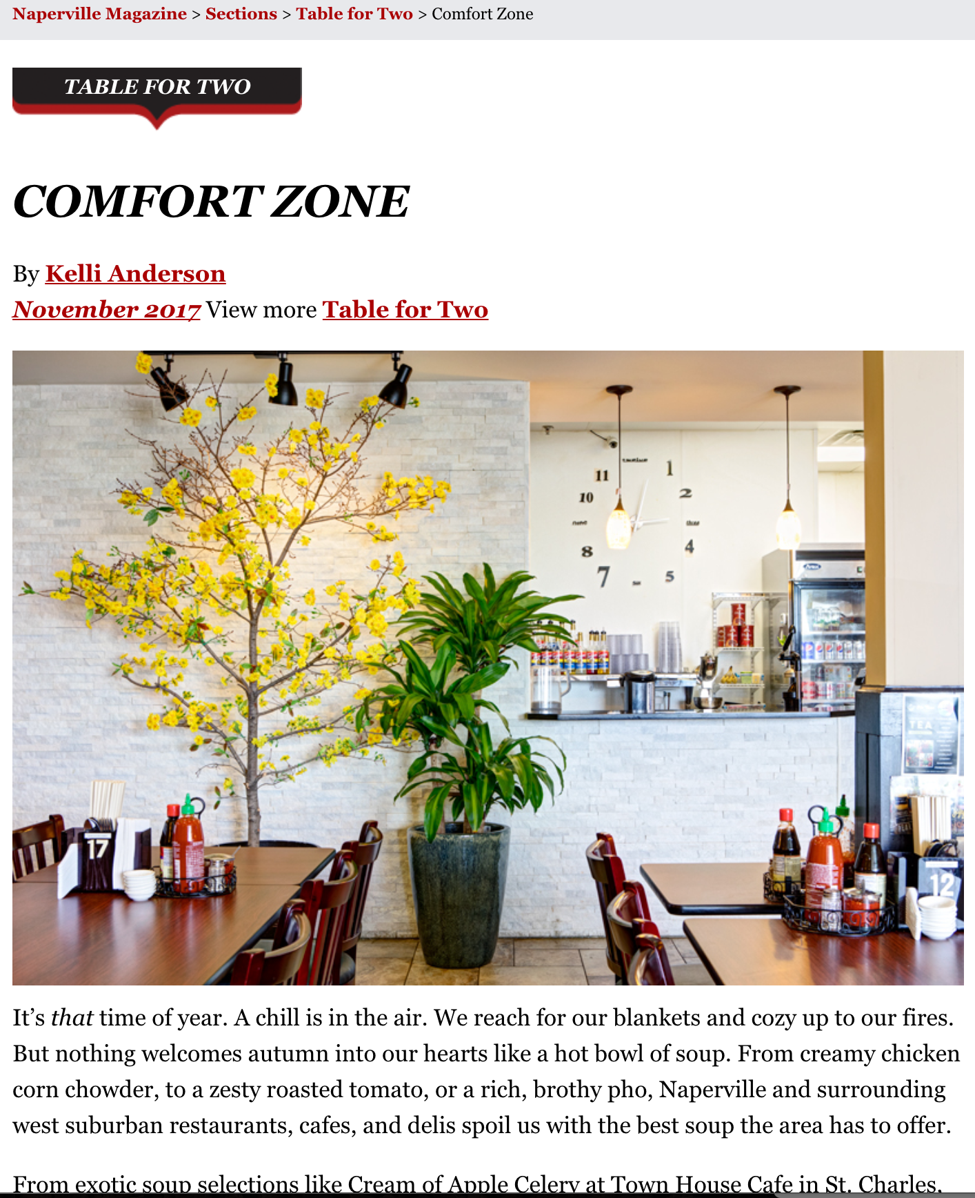 """Thank you to Kelli Anderson and Naperville Magazine for featuring our restaurant in the Naperville Magazine November Issue. The """"Table for Two"""" section was about local soups in the area. Out of three local restaurants featured in the article Pho Thien was the first restaurant mentioned and the only one to have a picture. We are so blessed!   http://napervillemagazine.com/2017/10/comfort-zone/"""