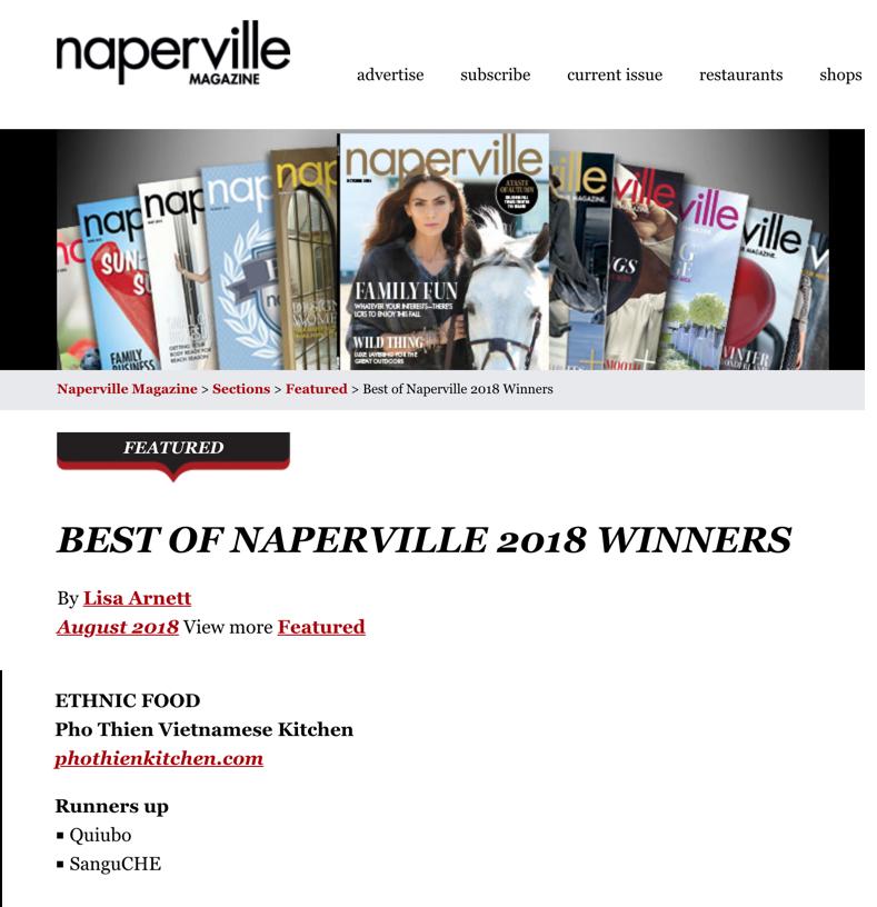 Best of Naperville Award Winner 2018 - Best Ethnic Food category