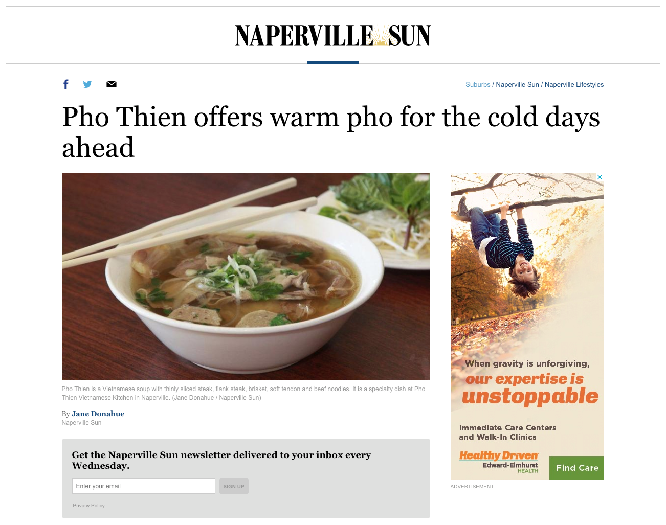 Thank you Jane Donahue and the Naperville Sun for the recent article!  I hope people will think of us and our Pho on the cold winter days.    Naperville Sun 11/26/18