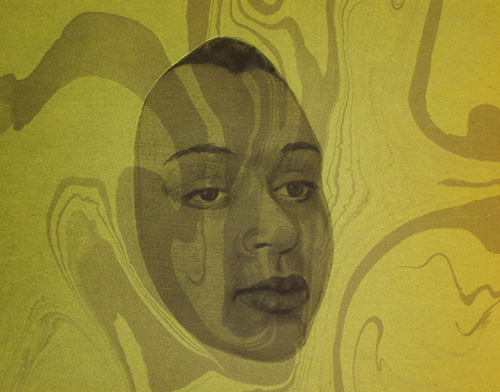 Janet Best Badger  Mask , 2014 mezzotint on marbled paper 8.5 x 11 inches