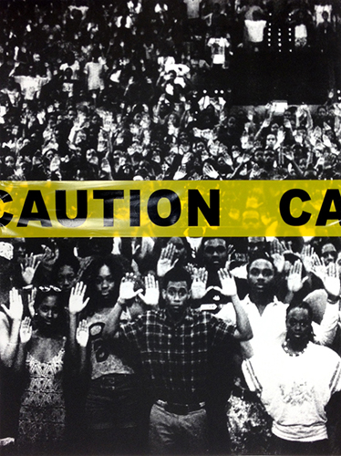 Scott Baird  Hands Up, Don't Shoot , 2014 lithograph on paper with caution tape 24 x 18 inches