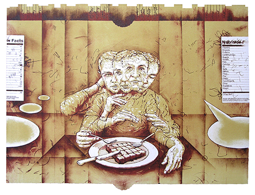 Andrew DeCaen  Measured, Minced, Mixed , 2013 lithograph 15 x 21 inches
