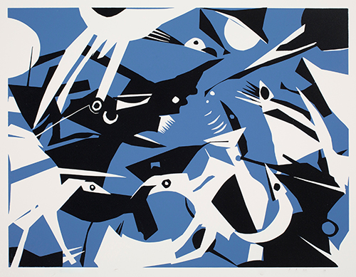 Annegret Disterheft  Roxho's Arrival , 2014 serigraph 12 x 16 inches