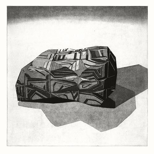 Jenny Harp  [mat][arch][bldgs][multi-beveled blocks] , 2014 aquatint and plotter-drawn line etch 18 x 18 inches