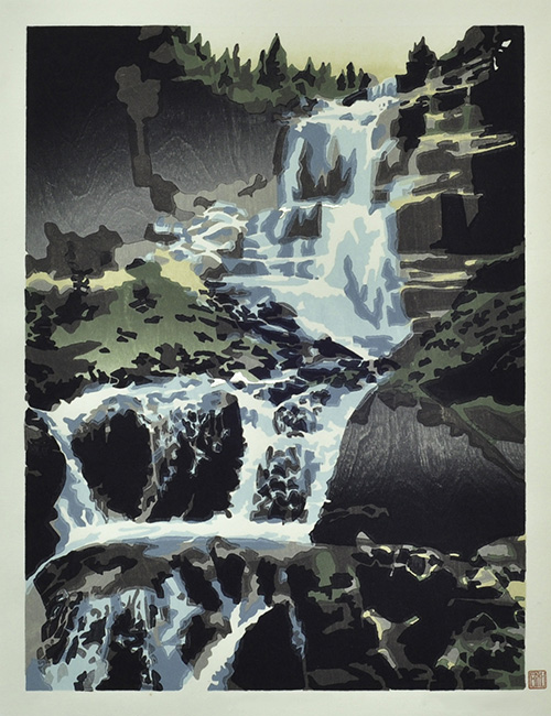 Daryl Howard  Heartbeat of the Mountain , 2014 woodblock print 20 x 15 inches