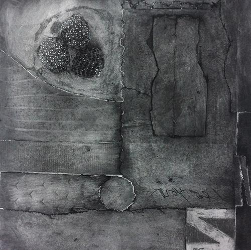 Joel Kincaid  2 Ever , 2014 collagraph 9.75 x 9.75 inches