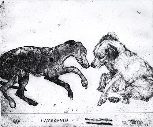 Dan Kirchhefer  Dog Gone Dog to Come Dog Bone , 2013 intaglio, etching, aquatint and softground 10 x 12 inches