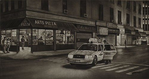 Frederick Mershimer  After Hours , 2013 mezzotint 6.25 x 12 inches
