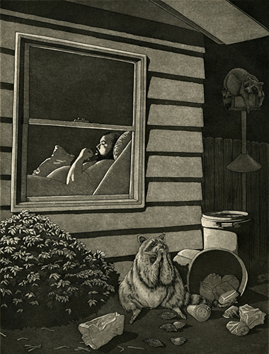 Ashton Ludden  Heavy Influence , 2014 engraving and aquatint 9.5 x 7.25 inches