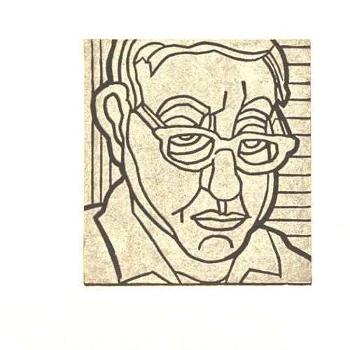 James Mullen  Self P , 2014 linocut 4 x 3.5 inches