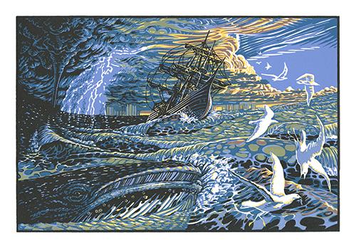 Patrick Simon  Sea Storm , 2012 linocut 10 x 15 inches