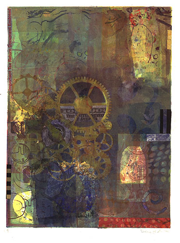 Debra Arter  Federal Machine , 2013 monotype with US currency and chine collé 12 x 9 inches