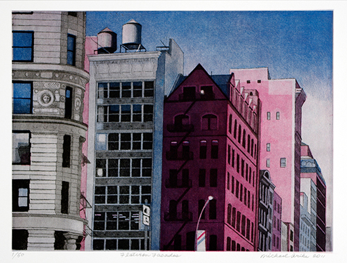 Michael Arike  Flatiron Facades , 2012 color aquatint 9 x 12 inches