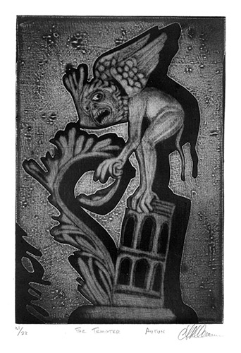 A. David Crown  The Tempter (Autun) , 2012 mezzotint 8.75 x 6 inches