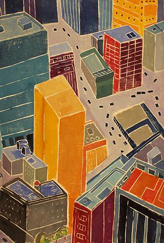 Aline Feldman  City Fragment , 2013 white line woodcut 26.75 x 19.75 inches