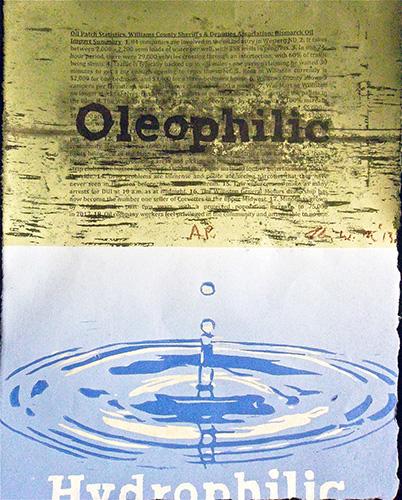Kim Fink        Oleophilic , 2013 woodcut and archival digital media 14 x 11 inches