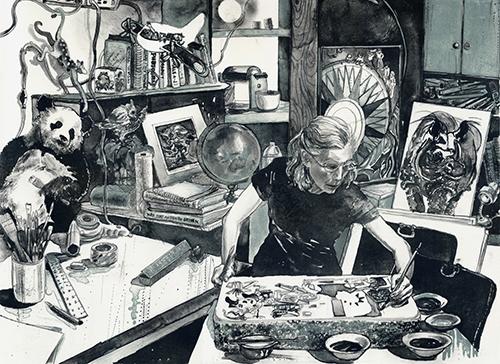 Caroline Thorington  Magician , 2013 lithograph 17 x 22.5 inches