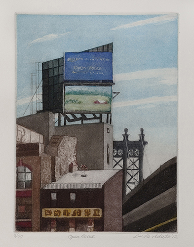 Linda Adato  Open House , 2012 color etching, aquatint and soft ground 7.75 x 5.75 inches