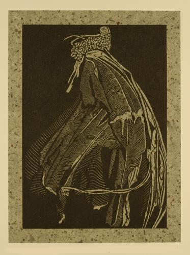 Deborah Bryan  Detritus: Tattered Moth , 2011 wood engraving and chine collé 8 x 6 inches