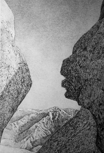 Raymond DeCicco  The Great Western Divide From Moro Rock , 2010 2 plate aluminum lithograph  20 x 14 inches