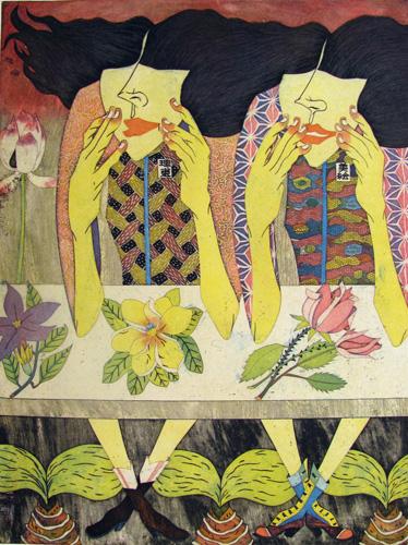 Yuji Hiratsuka  Deliberation , 2010 intaglio and chine collé 24 x 18 inches