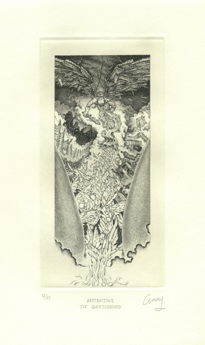 David Avery  Abstracting the Quintessence , 2012 etching 8 x 4 inches
