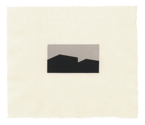 Robin Sherin  Building Silhouette/Horizontal #11 , 2012 2 color linoleum cut 1.5 x 2.625 inches